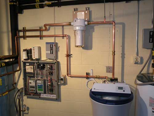 water softening system completely hooked up
